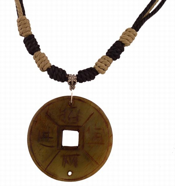 Stylish Natural Stone PENDANT Necklace (Old Coin)