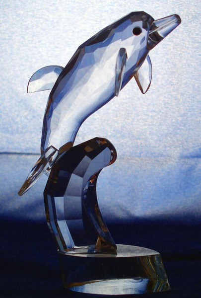 Crystal Glass Art Single Dolphin FIGURINE In Gift Box