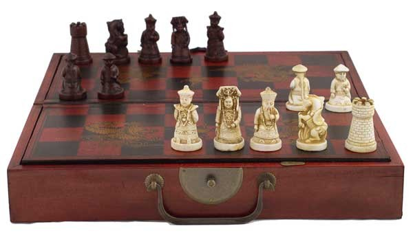 Collectible chinese antique style chess game set w leather case - Collectible chess sets ...