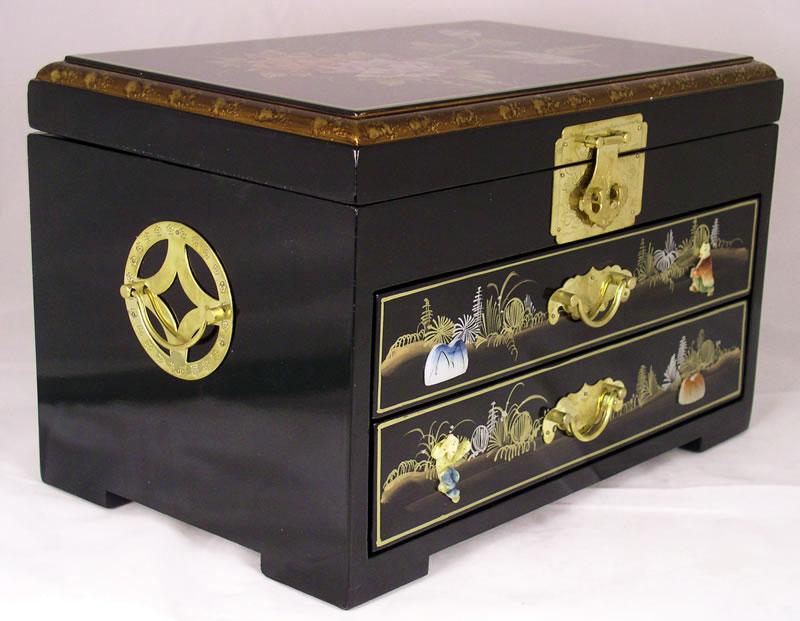 Elegant Oriental Black Lacquered JEWELRY BOX W. One Drawer