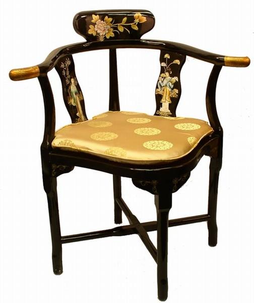 Oriental Furniture Black Triangle Accent CHAIR